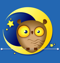 Funny owl on the background of the moon vector