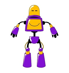 Futuristic toy robot in vivid yellow and blue vector image