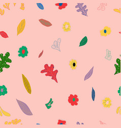 girlish flowers on pink background vector image