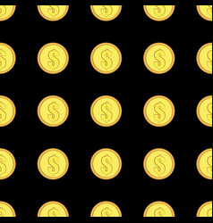 Golden coins with dollar sign seamless pattern vector