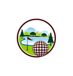 Golf landscape logo design template vector