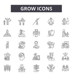 grow line icons signs set outline vector image