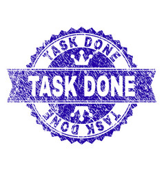 Grunge textured task done stamp seal with ribbon vector
