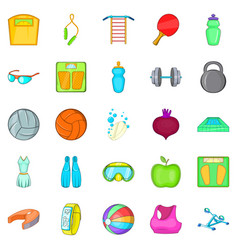 gymnasium icons set cartoon style vector image