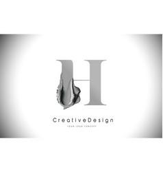 H letter design brush paint stroke black h letter vector