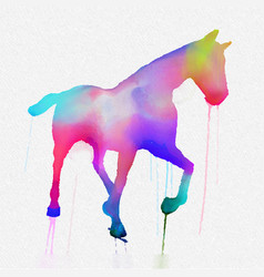 Hand painted horse silhouette in bright colours vector