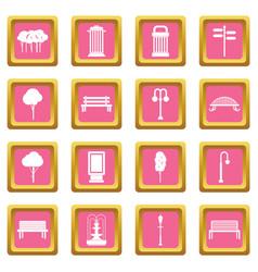 Hangar icons pink vector