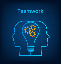heads profile lightbulb creative teamwork concept vector image