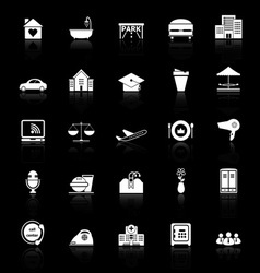 Hospitality business icons with reflect on black vector