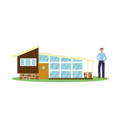 house evolution - man next to modern cottage flat vector image