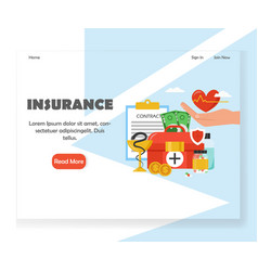 insurance website landing page design vector image
