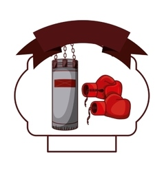 Isolated boxing glove and bag inside frame vector