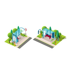 isometric set bus station vector image