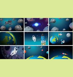 Large set space scenes vector