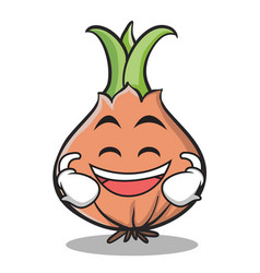 Laughing face onion character cartoon vector