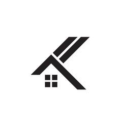 Letter ak stripes home shape logo vector