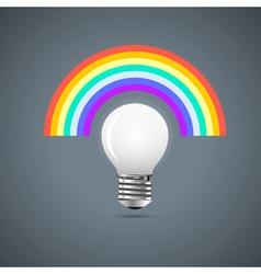 Light bulb with rainbow vector