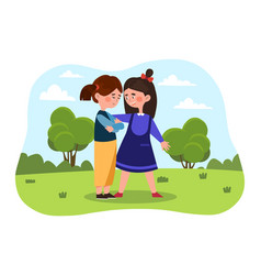 little girls are friends vector image
