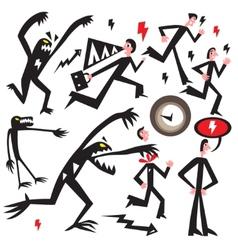 Man running away from monster vector