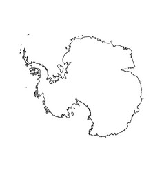 map of antarctica black outline high detailed vector image vector image