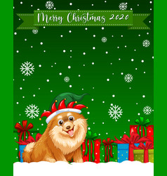 Merry christmas 2020 font logo with chihuahua dog vector