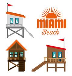 miami beach summer icons vector image