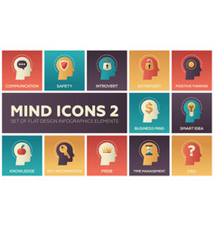 mind icons - modern set of flat design vector image
