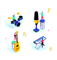 Music party - modern isometric scenes with vector
