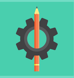 pencil in the gear icon vector image