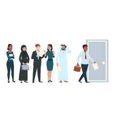 people queue job seekers in waiting line vector image