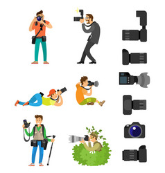 Photographers with digital camera set taking photo vector