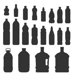 plastic bottles silhouette vector image