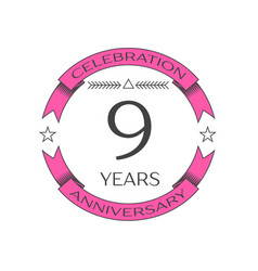 Realistic nine years anniversary celebration logo vector