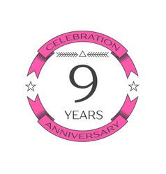 Realistic nine years anniversary celebration logo vector