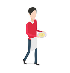 Restaurant walking waiter with plate in hands vector