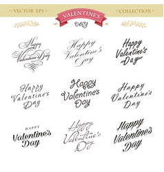 romantic valentines day lettering set calligraphy vector image