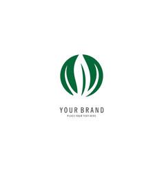 round grass symbol logo vector image