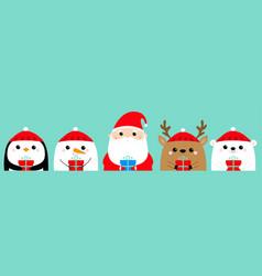 santa claus white bear snowman raindeer deer vector image
