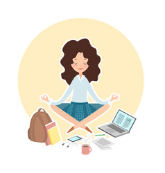 school college concept student in lotus pose vector image