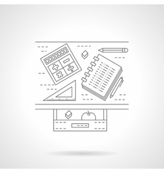 School desk flat line icon vector