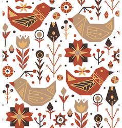 Seamless festive flat patternbirds flowers with vector