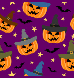 Seamless halloween background with pumpkin vector