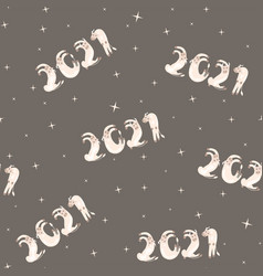 seamless pattern for new year 2021 white vector image