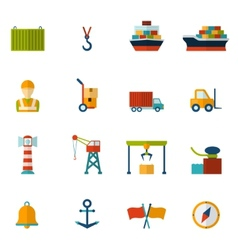 Seaport Flat Icon vector