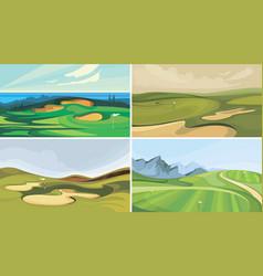 Set golf courses vector