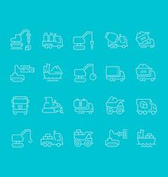 set line icons construction transport vector image