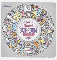 set of bathroom cartoon doodle objects vector image