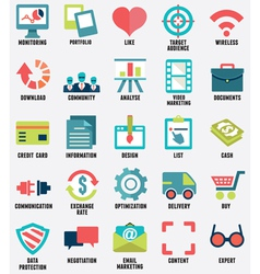 Set of media service flat icons - part 1 - icons vector