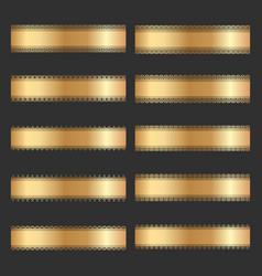 Set of vintage gold ornamental borders vector