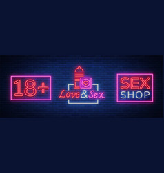 Sex shop set of logos in neon style collection of vector
